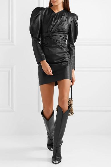 Isabel Marant Dress Cobe twisted leather mini dress