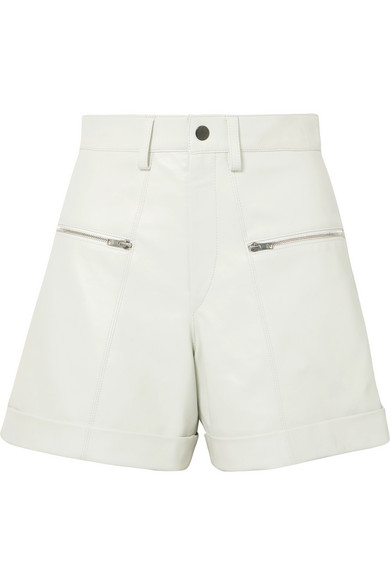 Cedar High-Waist Cuffed Leather Shorts in White