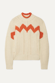Bell intarsia paneled open-knit cotton-blend turtleneck sweater
