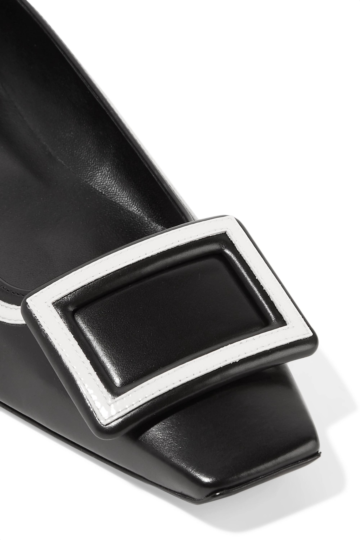 Roger Vivier Belle Vivier Graphic patent-trimmed leather flats