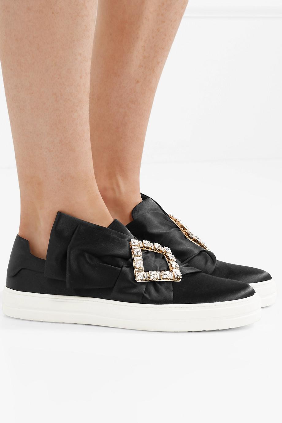 Roger Vivier Sneaky Viv crystal-embellished satin slip-on sneakers