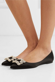 Crystal-embellished satin point-toe flats