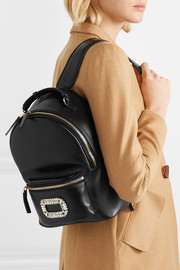 Roger Vivier Sexy Choc crystal-embellished glossed-leather backpack