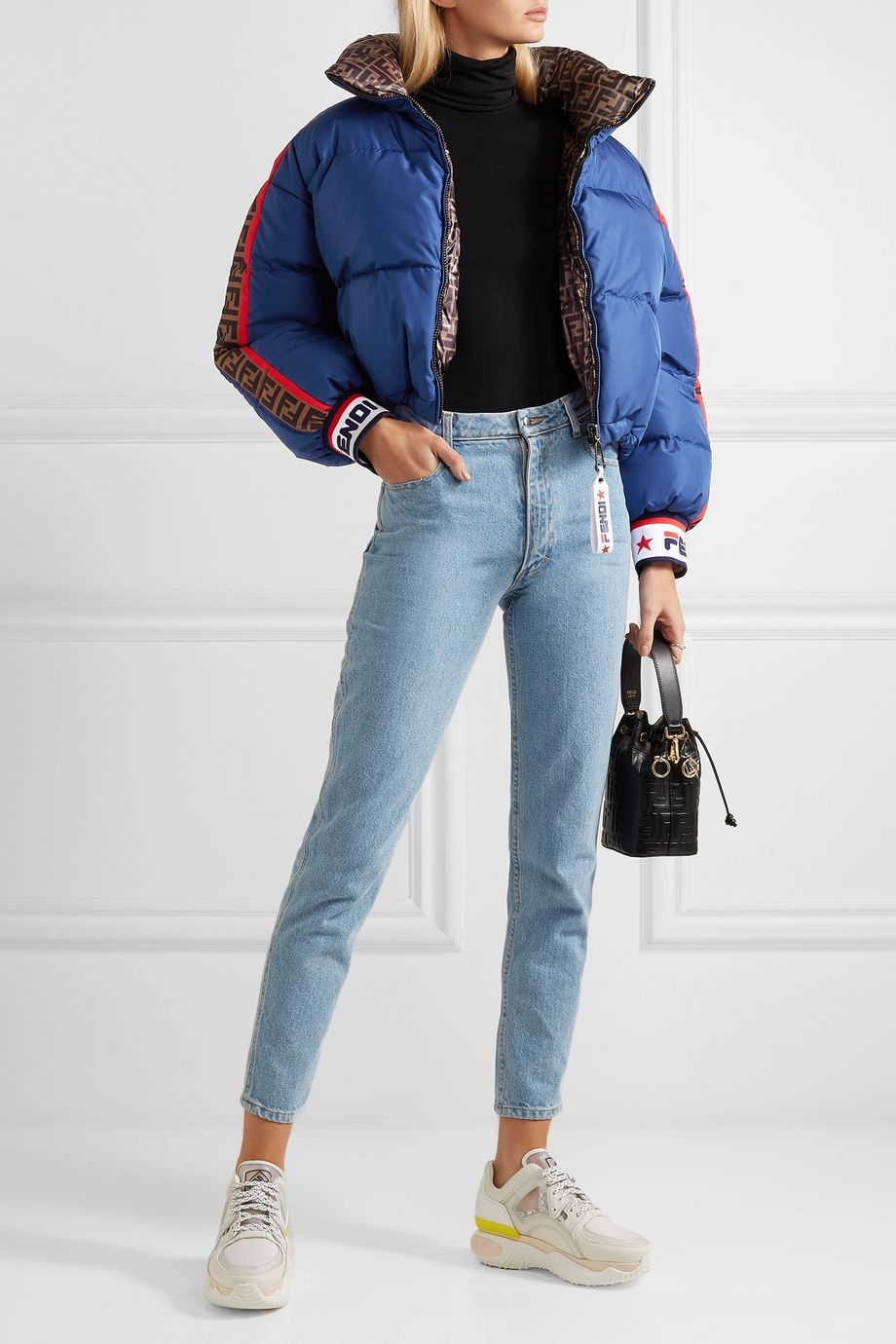 Fendi Cropped reversible printed shell down jacket
