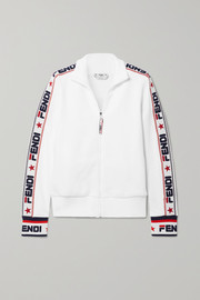 Embroidered cotton-blend jersey track jacket