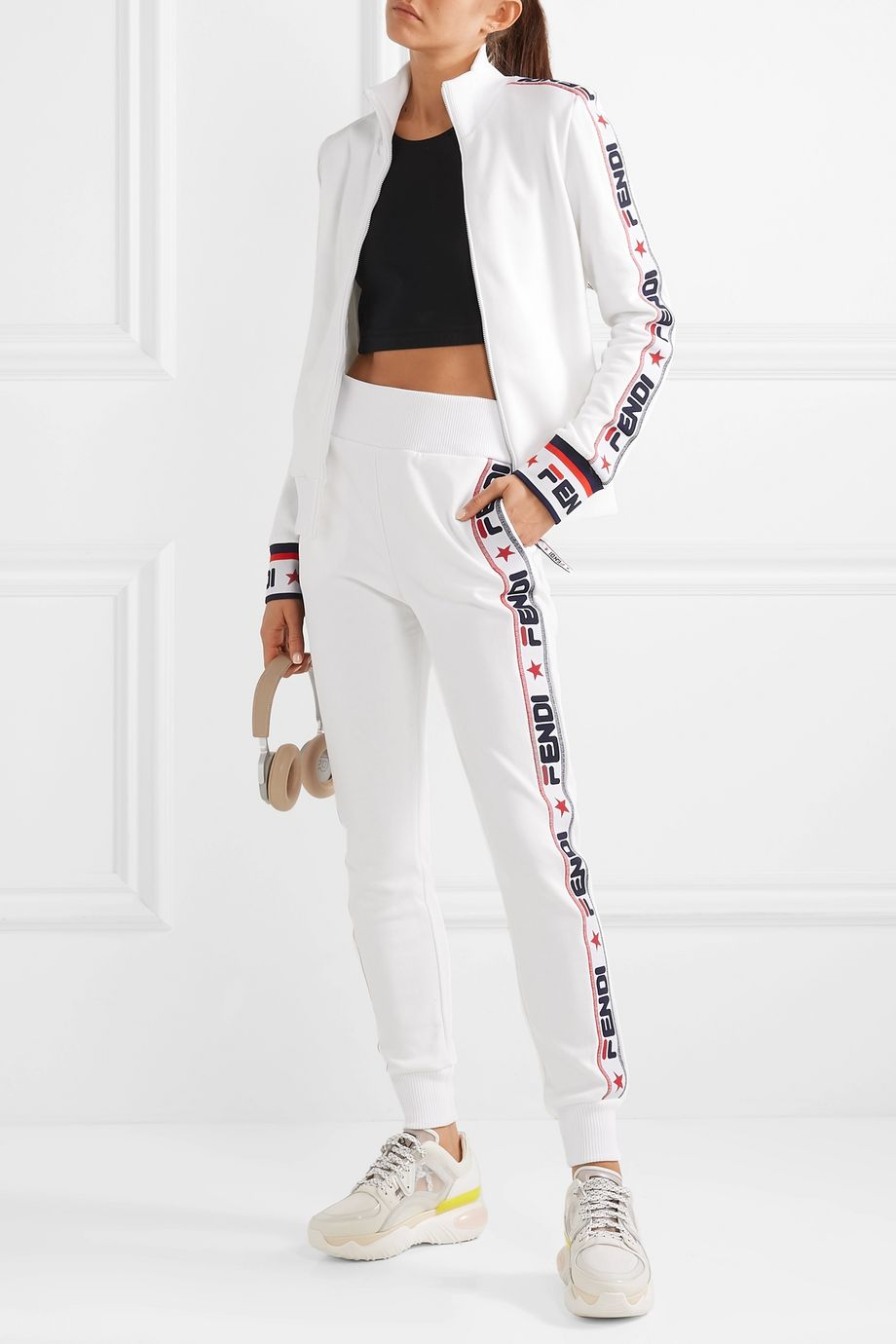 Fendi Embroidered cotton-blend jersey track jacket