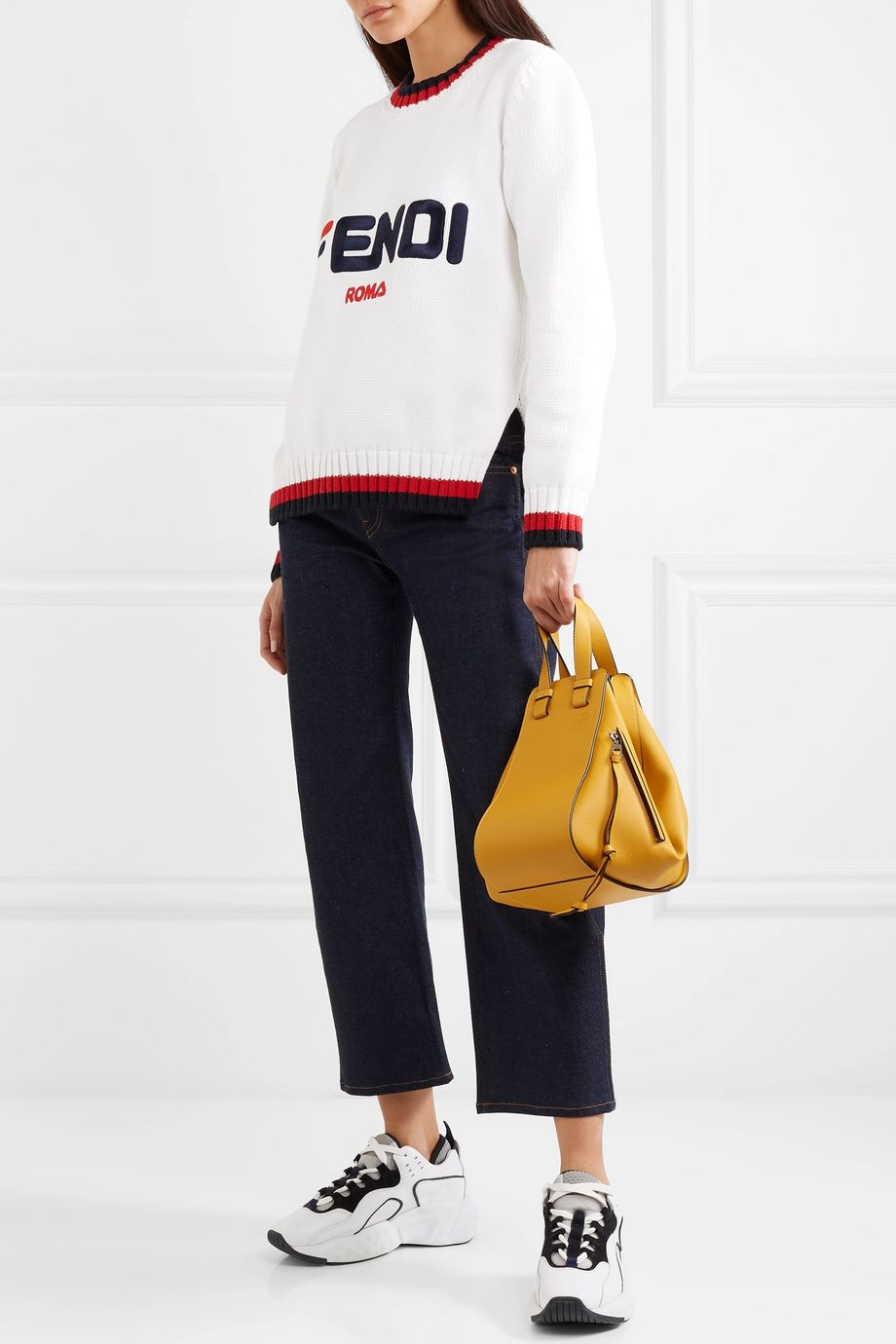 Fendi Embroidered striped cotton sweater