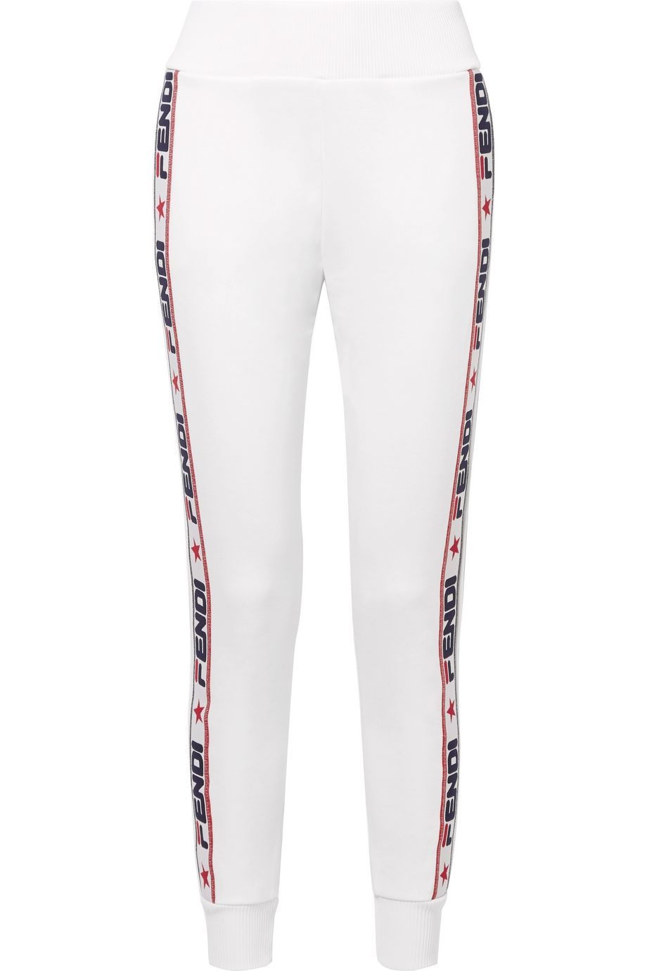 Fendi Appliquéd cotton-blend jersey track pants