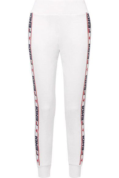 Appliquéd Cotton-Blend Jersey Track Pants in White