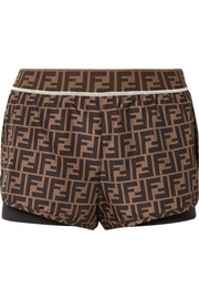 Fendi Roma printed shell and stretch-jersey shorts