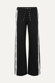 Roma jacquard-trimmed cotton-blend terry track pants
