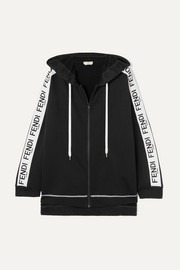 Fendi Oversized jacquard-trimmed appliquéd cotton-blend terry hoodie