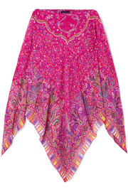 Etro Asymmetric printed silk-chiffon top