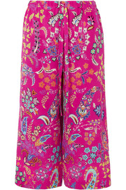 Etro Cropped printed silk-crepe pants
