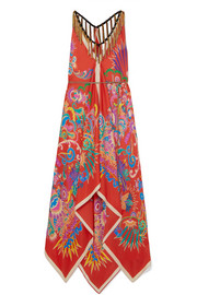 Etro Pampero fringed printed silk-satin dress