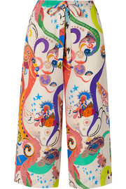 Etro Cropped printed silk crepe de chine pants
