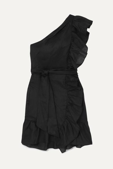 Isabel Marant Étoile - Teller One Shoulder Frill Mini Dress - Womens - Black