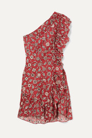 Teller one-shoulder ruffled printed linen mini dress