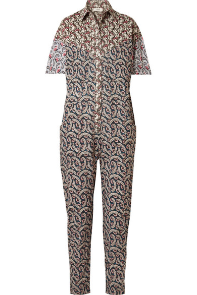 Isabel Marant Étoile - Lindsie Floral Print Cotton Jumpsuit - Womens - Pink Multi in Brown