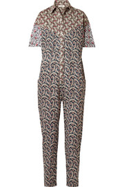 Lindsie printed cotton-poplin jumpsuit