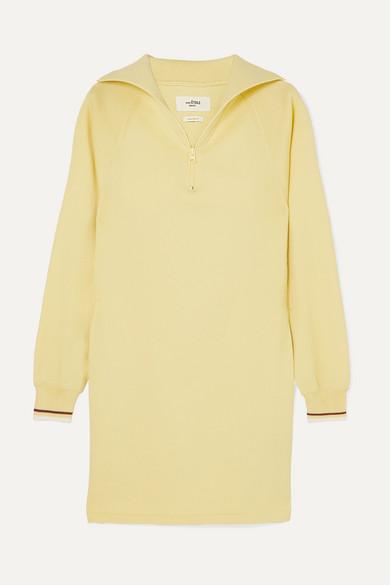 Dita Stretch-Knit Mini Dress in Pastel Yellow