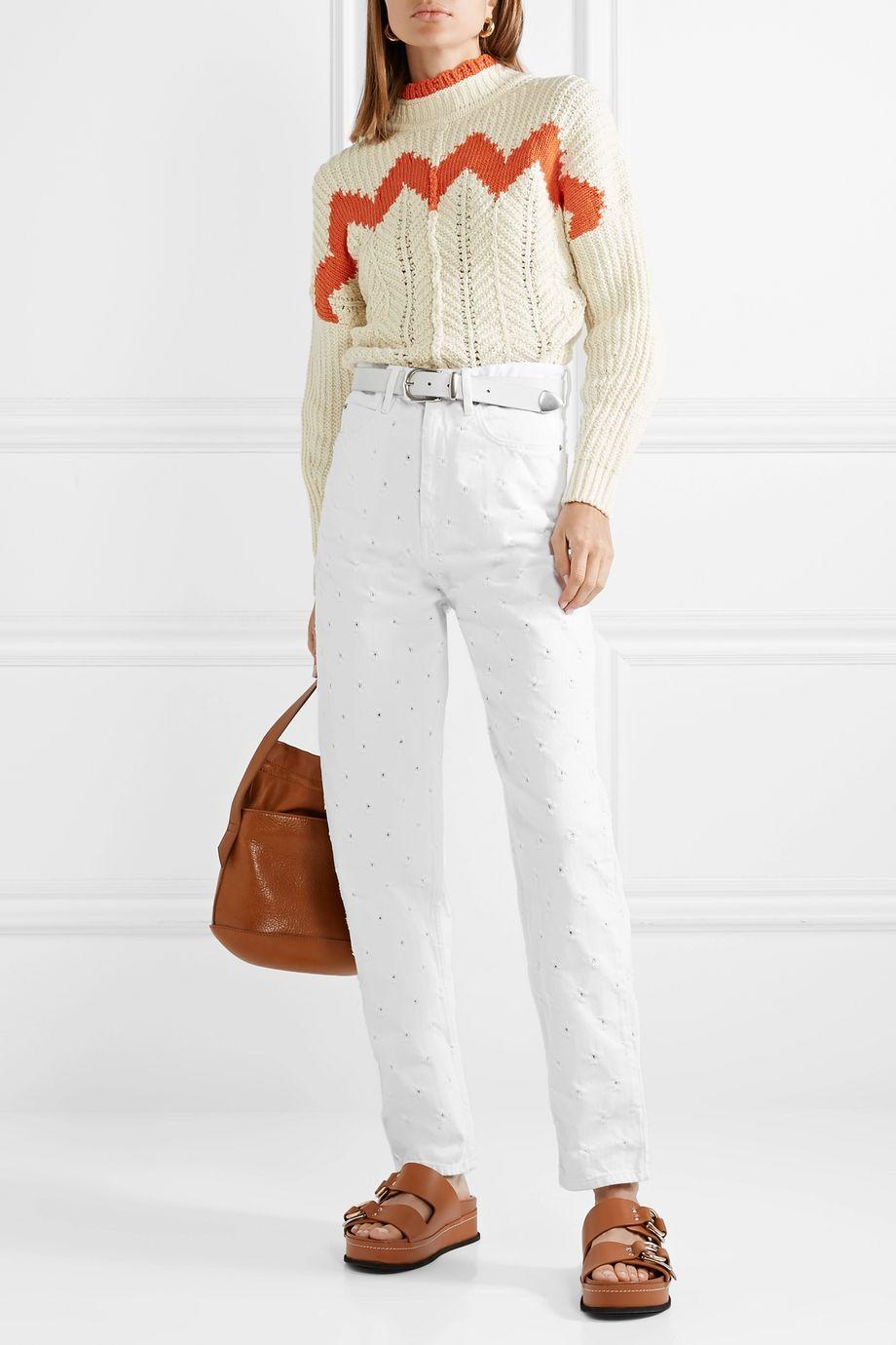 Isabel Marant Étoile Lorny distressed high-rise straight-leg jeans