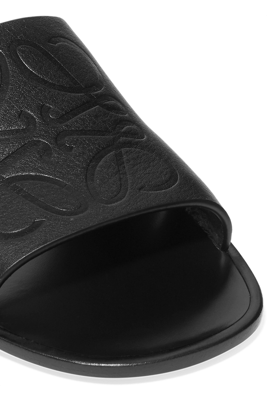 Loewe Cutout logo-embossed leather slides