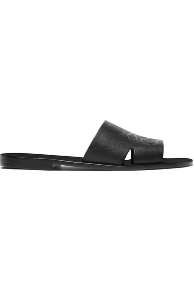 Cutout Logo Embossed Leather Slides by Loewe