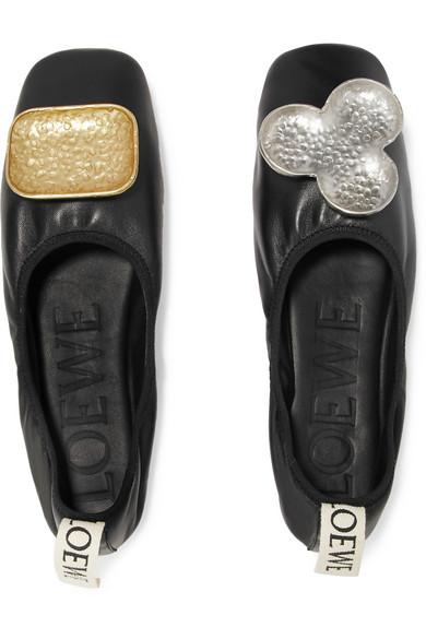 Loewe Shoes Shamrock mismatched embellished leather ballet flats