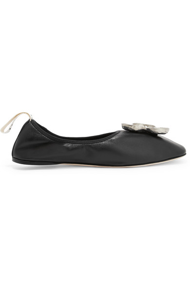 Loewe Shamrock mismatched embellished leather ballet flats