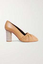 Ruched leather and suede pumps