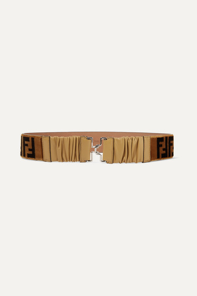 Ff Terrycloth & Leather High Waist Belt in Brown