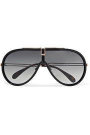 D-frame acetate and rose gold-tone sunglasses