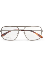 Givenchy Aviator-style stainless steel optical glasses