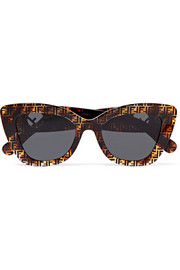 Cat-eye printed tortoiseshell acetate sunglasses