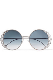 Fendi Round-frame crystal-embellished gold-tone sunglasses