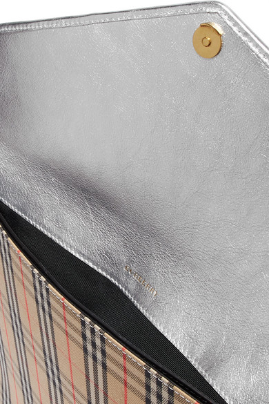 Burberry Bags Leather-trimmed checked cotton-drill clutch