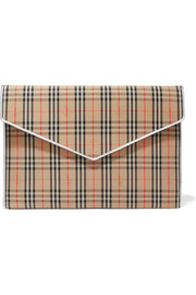 Burberry Leather-trimmed checked cotton-drill clutch