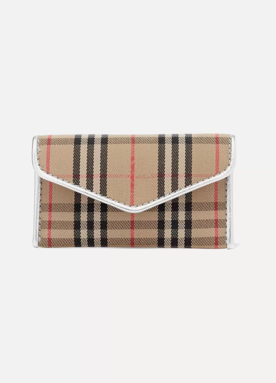 Burberry Leather-trimmed checked drill cardholder