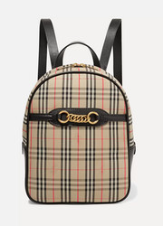 Burberry Embellished leather and checked cotton-drill backpack