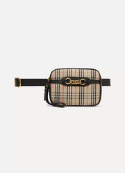 Embellished leather-trimmed checked cotton-drill belt bag