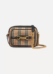 버버리 Burberry Embellished leather-trimmed cotton-blend canvas camera bag