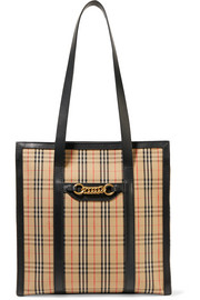 Embellished leather-trimmed checked cotton-drill tote