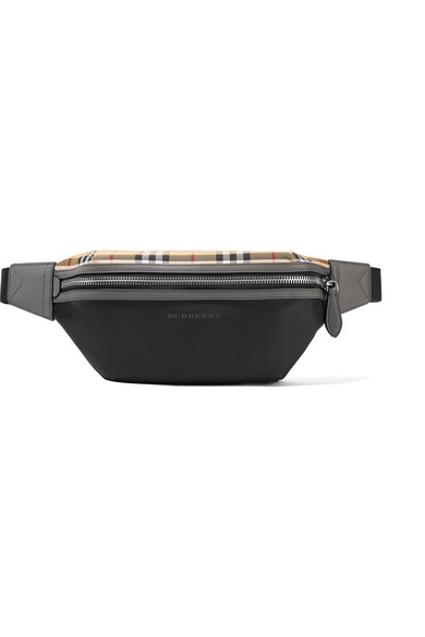 Leather Trimmed Checked Shell Belt Bag by Burberry