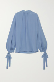 Prada Gathered silk crepe de chine blouse