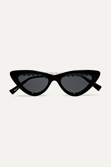 47d88203bf Le Specs. The Last Lolita faux pearl-embellished cat-eye acetate sunglasses
