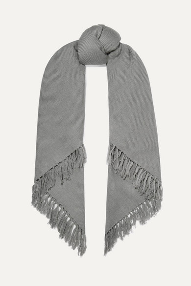 Zila Fringed Cashmere And Wool-Blend Scarf in Gray