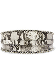 Kytoo embellished snake-effect leather waist belt