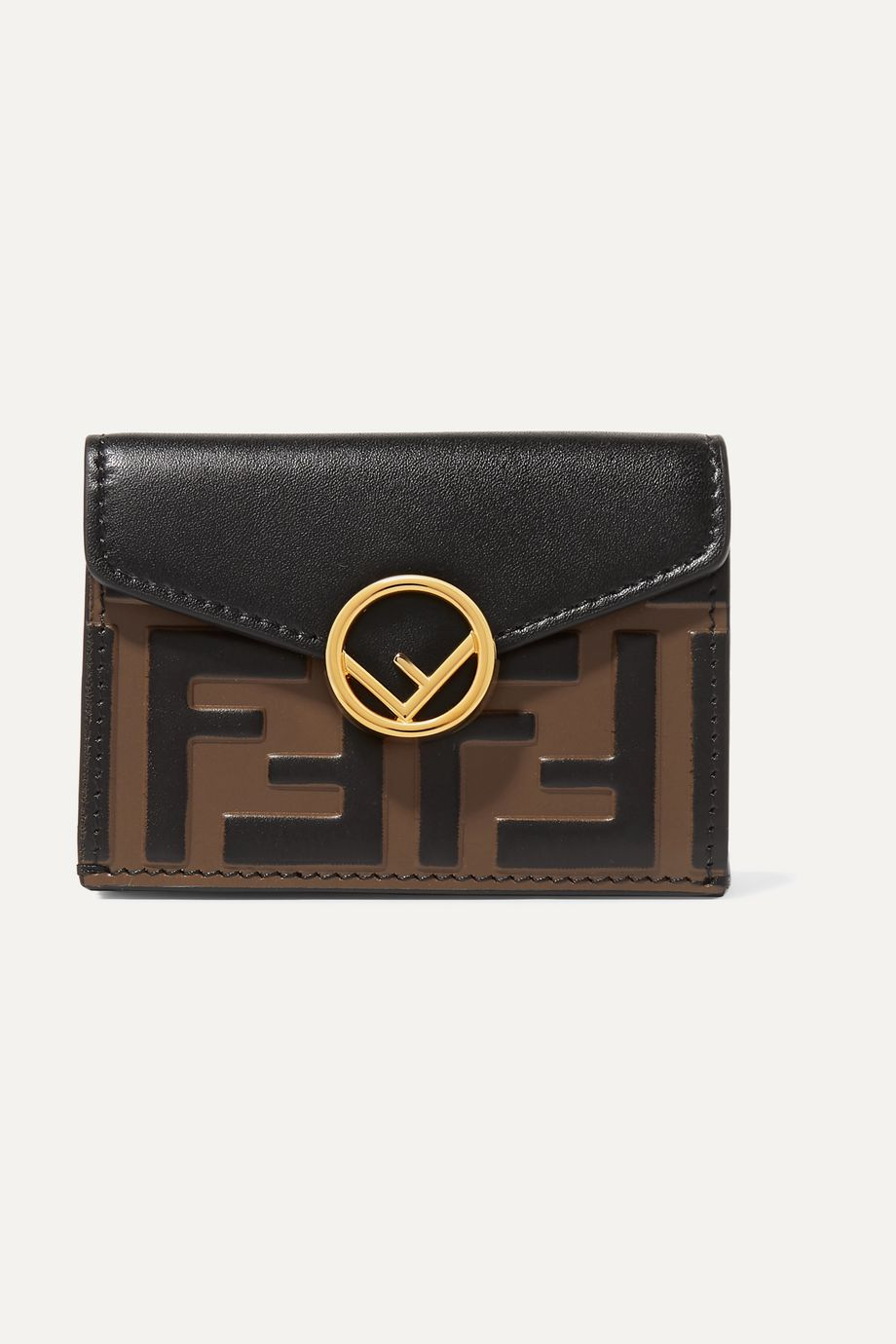 Fendi Embellished embossed leather wallet