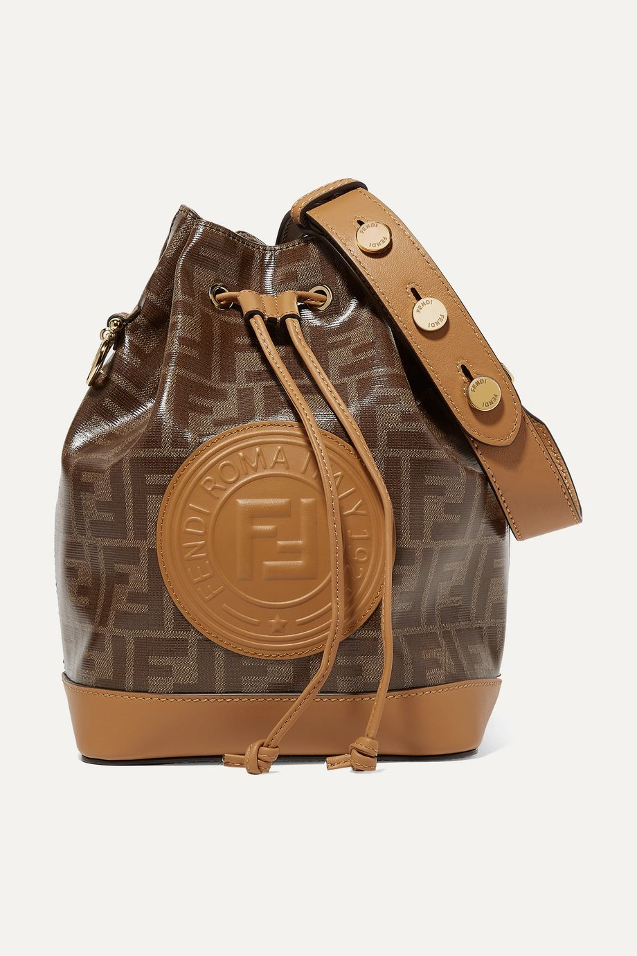 Fendi Mon Trésor large printed coated-canvas and leather bucket bag
